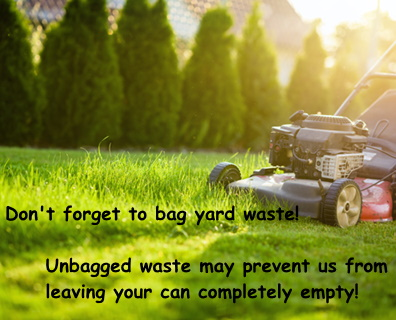 Graphic reminding customers to bag yard waste